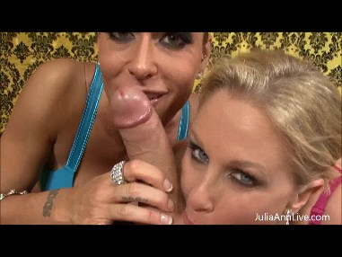 JULIA ANN TEAMS UP WITH HER SLUTTY FRIEND TO MAKE A COCK CUM from JuliaAnnLive.com